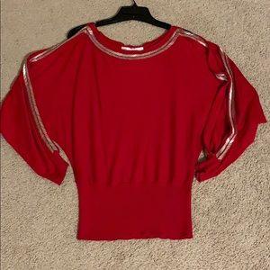 Boston Proper Red/Silver split sleeve small NWOT